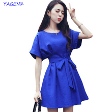2017 New Women dress Summer Blue Round Neck Half Sleeve Female Dresses Party Dress Cotton Bow Buttons Korean Style YAGENZ A58