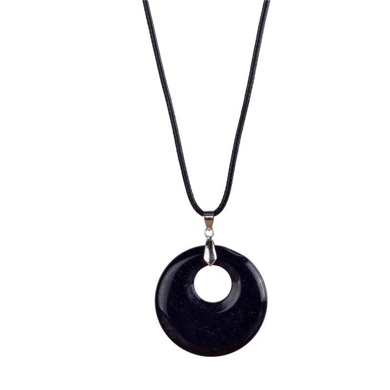 2017 Hot Sale Natural Black Onyx Necklace Carnelian Howlite Healing Crystal Reiki Chakra Dowsing Stone Pendant For Men Jewelry