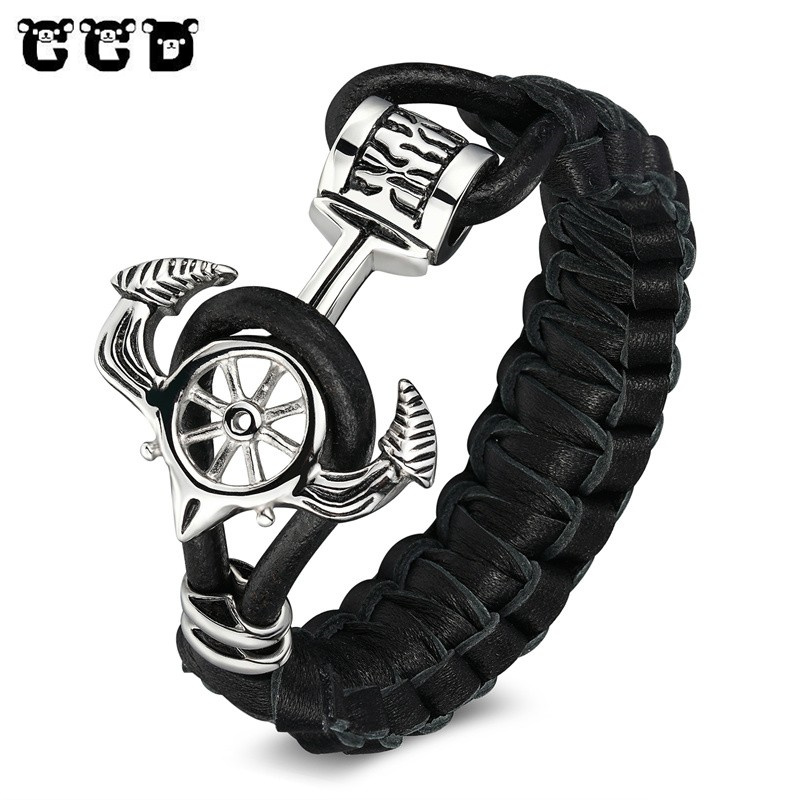 New Fashion Anchor Stainless Steel Bracelets Bangles Charm Genuine Leather Bracelet Men Vintage Male Jewelry women Pulseiras brand new cross vintage stainless steel animal bracelets men punk style charm anchor bracelets