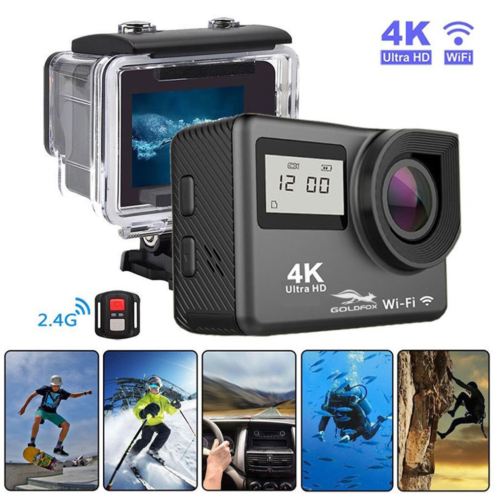 LCD Double Écran Ultra HD 4 k D'action Caméra 16MP Wifi 1080 p Action Sports Caméra Go Étanche pro Vélo casque Cam + Télécommande