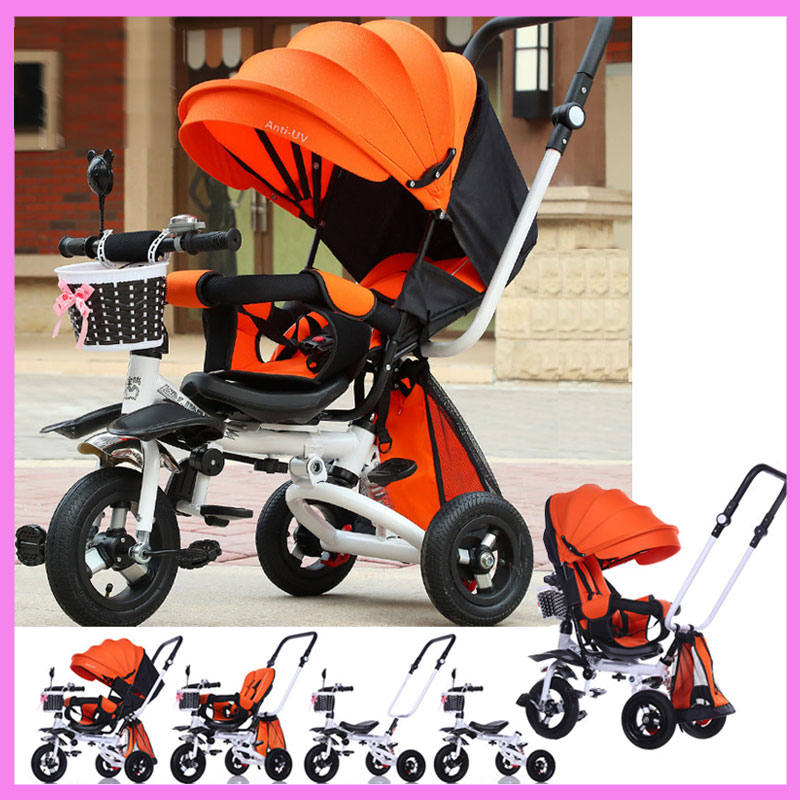 Anti UV Safety Ultra Pram Reverse Handle Three Wheels Swivel Seat Foldable Baby Toddle Stroller Bicycle Tribike Pushchair Car maritime safety