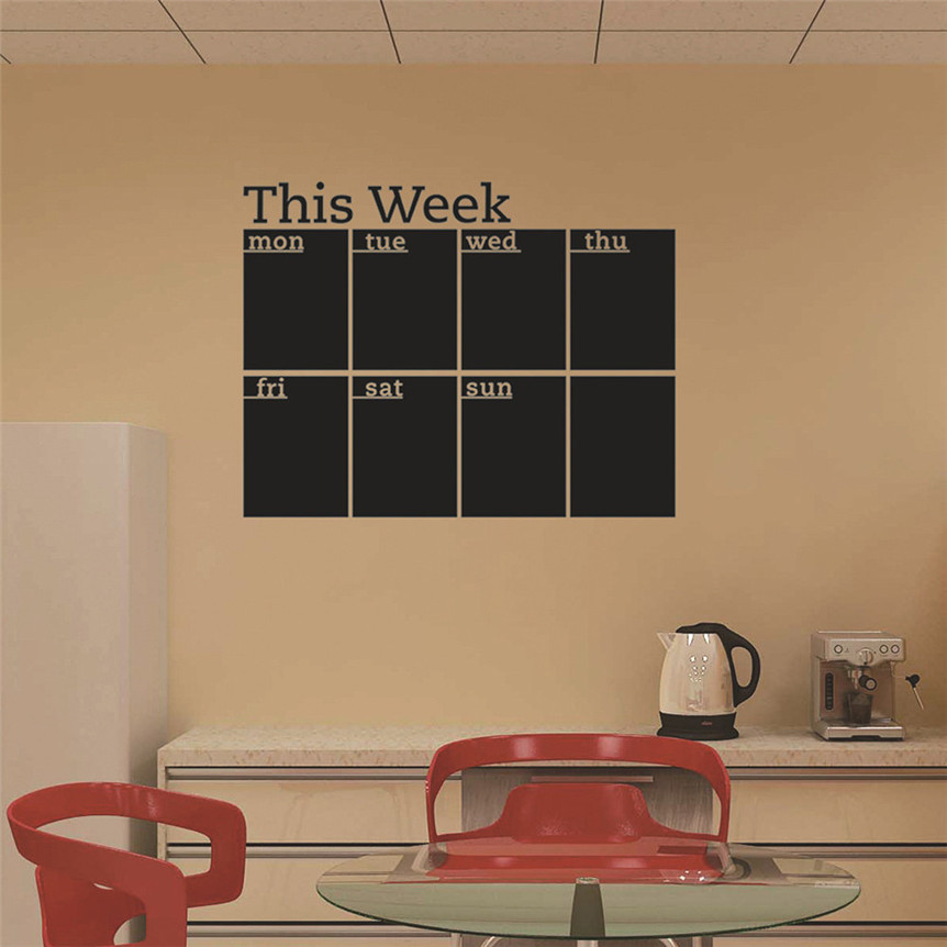 Week Plan Calendar Chalkboard Removable Planner Wall Stickers Black ...
