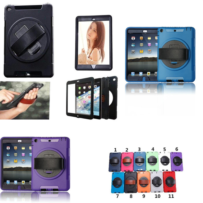 WES-FTL Heavy Duty Shockproof Drop proof PC Hybrid Cover Case For iPad mini 2 mini3 With Pu leather Hand Strap
