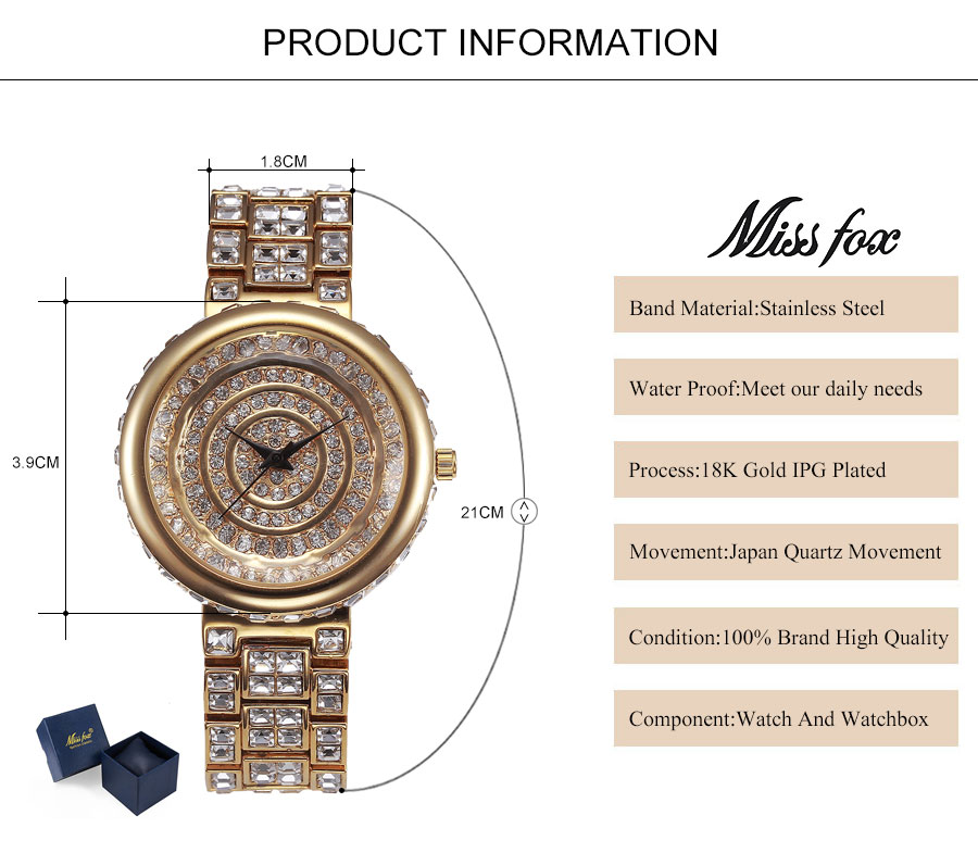 MISSFOX Senhorita Fox Marca Casual Mulheres Relógios