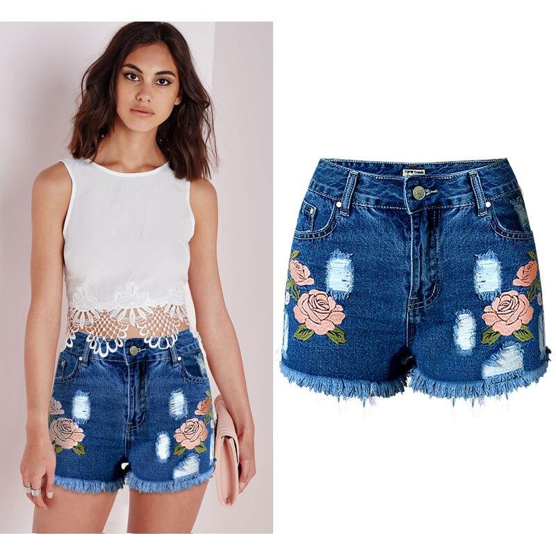 SUNSPA Fleur broderie taille haute denim shorts Casual streetwear mini shorts  femmes Trou poches bleu jeans shorts b3a3ed06d97