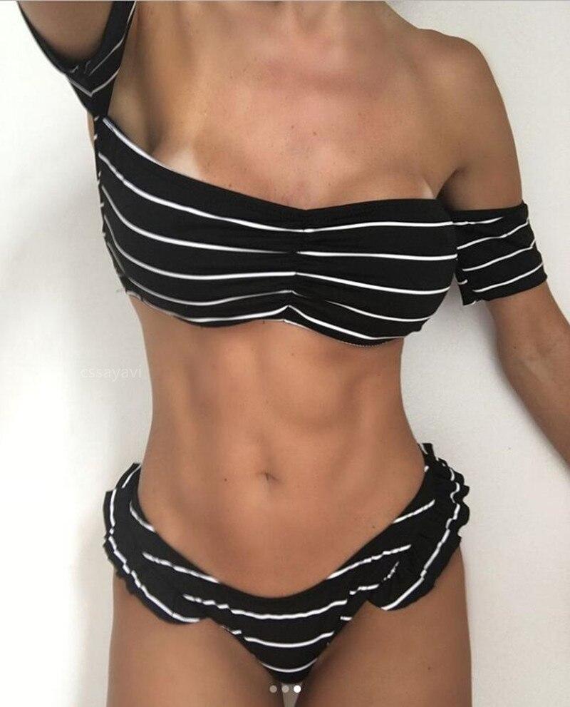 Women sexy strapless bikini set 2018 New striped swimsuit push up bathingsuit maillot de bian swimwear summer biquinis