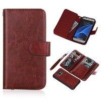 Luxury Handbag Crazy Horse PU Leather Wallet Case For Samsung Galaxy S7 Edge G930F G930FD Magnet
