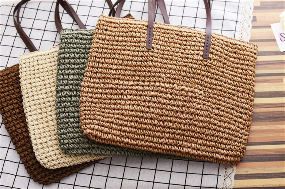 Women Handbag Summer Beach Bag Rattan Woven Handmade Knitted Straw Large Capacity Totes Leather Women Shoulder Bag Bohemia New 13