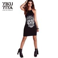 YIKUYIYA New Fashion Women Dress 2016 Black Funny Skeleton Printing Dress Punk Cross Backless Cold Shoulder