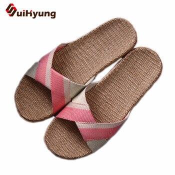 b4bef3ff7 Suihyung/летние шлепанцы, Женские Дышащие льняные домашние тапочки, Женская  Повседневная пляжная обувь, Нескользящие льняные шлепанцы, сандали.