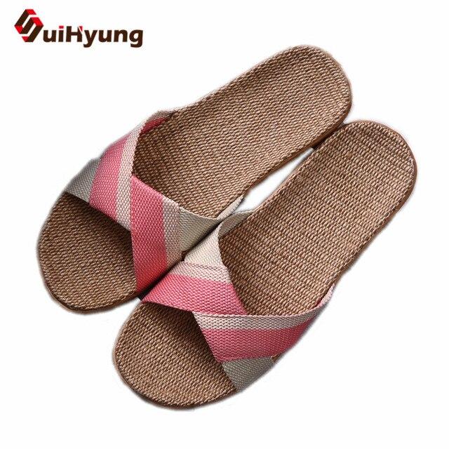 Suihyung Chinelos de Verão Mulheres Respirável Linho Linho Indoor Chinelos Mulher Praia Sapatos Casuais Não-deslizamento Desliza Sandálias Flip Flops