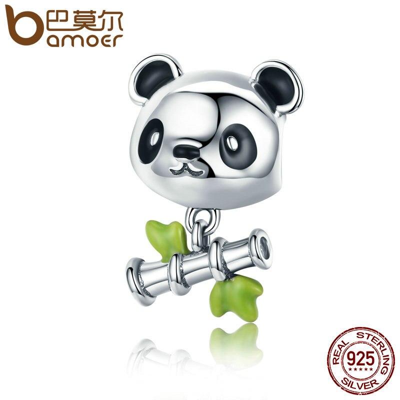 BAMOER Real 100% 925 Sterling Silver Lovely Bamboo & Panda Animal Charm fit Girls Charm Bracelet DIY Jewelry Girls Gift SCC325 bamoer real 100