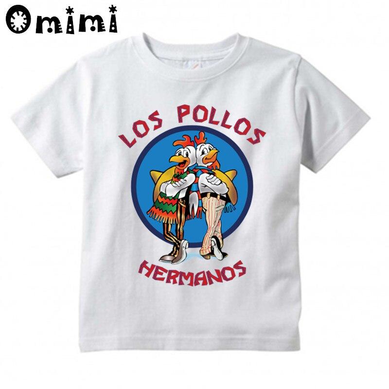 Мальчики/девочки Лос Pollos HERMANOS куриные брат печатных футболка Дети милые Повседневное Топы Детская забавная футболка