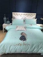 4/7ピース王クイーンサイズの女の子蝶グリーンプリンセス寝具セット刺繍入り布団カバーフラットベッドシートセット枕カバー