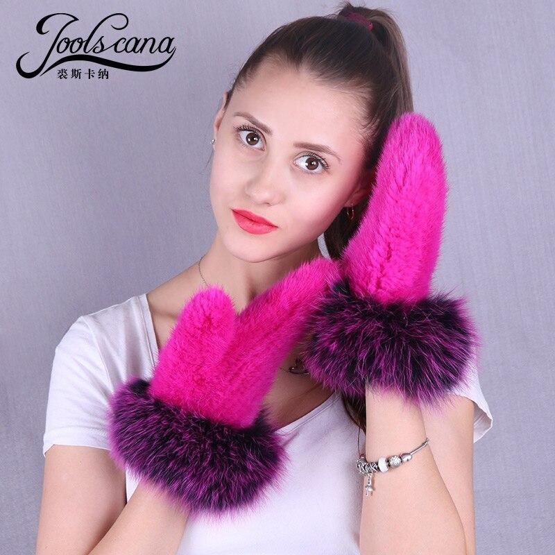 Joolscana naturel vison fourrure gants pour femmes hiver mitaine naturel vison tricoté mitaine renard fourrure poignet nouvelle marque gants élastique