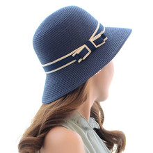 Lady Boater sun caps Ribbon Round vaulted Top Straw Fedora Panama Hat summer hats for women straw hat snapback gorras(China)