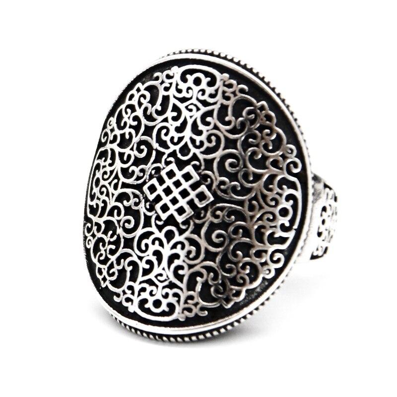Fabriqué à la main 100% 925 argent bouddhiste sans fin noeud anneau solide Sterling tibétain chanceux noeud symbole anneau bonne chance anneau redimensionnable