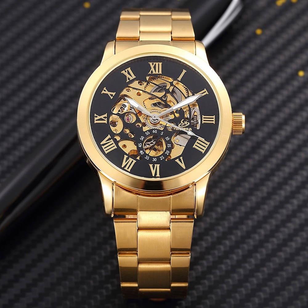 SHENHUA Zegarek męski Luksusowa Moda Mężczyźni Złoty Szkielet - Męskie zegarki - Zdjęcie 3