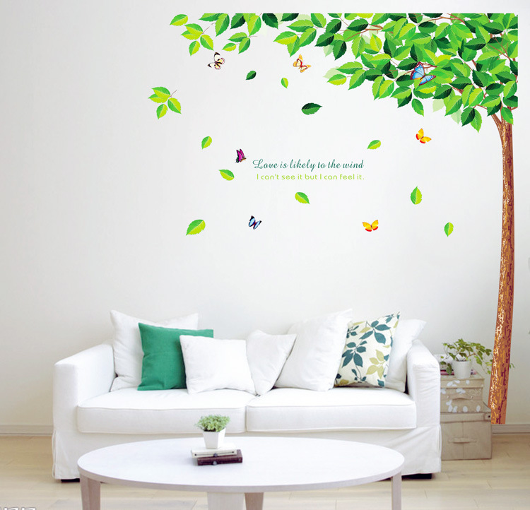 wall decal family art bedroom decor family big tree bird flying wall decal fresh green leaves pvc wall sticker mural removable living
