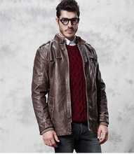 Brand New Autumn Winter Men Fashion Coat Stand Collar Thickening Men's Leather Jackets Men Leather Coat Size M-3XL H5079