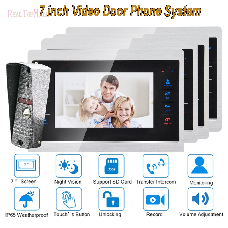 7 Inch Doorbell Camera Video Door Phone Monitor Intercom System Kit Night Vision 1200 TVL Recording SD Card Support 1 v 4 7 inch color tft lcd wired video door phone home doorbell intercom camera system with 1 camera 1 monitor support night vision
