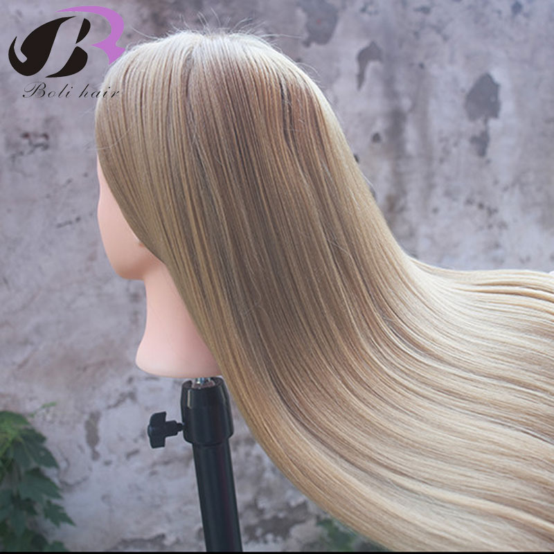 26'' Training Head for Hairdressers Mannequin Head Blond Hair Hairdressing Doll Heads Cosmetology Manikin Head with Clamp