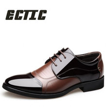 ECTIC 2018 new fashion patchwork Wedding leather Shoes lace up Casual shoes Comfortable Business Pointed toe dress shoes LL-004