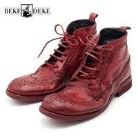100% яловая кожа мужские ботинки для подиума Роскошные ручной работы Высокое качество Ретро Красные Мужские ботинки на шнуровке безопасная о