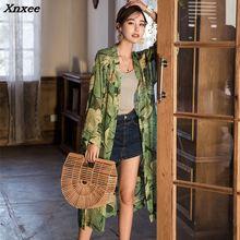 2018 Summer Fashion Women Floral Print Long Kimono Cardigan Sleeve Blouse Blusas Bohemian Chiffon Vintage