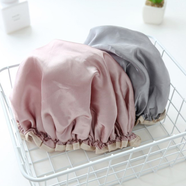 1pcs Lovely Thick Women Shower Satin Hats Hair Cover Waterproof Bathing Cap Shower Hats Bathroom Products Durable