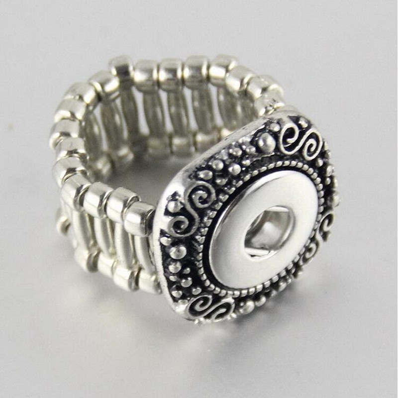 Antique Silver Ring Alloy Adjustable Snap Button Ring 18mm Fit Snap Button Charms Jewelry 10pcs