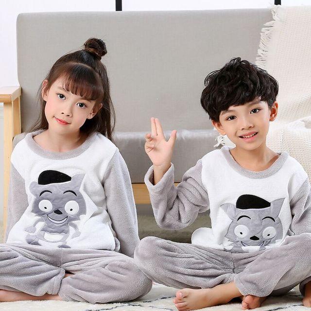 a283c11ea Winter Children Fleece Pajamas Thicken Warm Flannel Sleepwear Girls ...