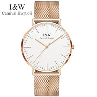 Карнавальные Модные Простые ультра тонкие кварцевые часы женские золотые водонепроницаемые женские часы из нержавеющей стали женские час