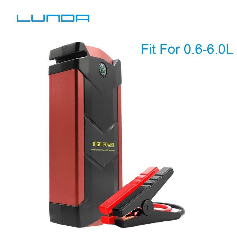 LUNDA Multi-Function 12V Petrol Diesel Car Jump Starter 4USB Power Bank Mini Compass SOS Lights 600A Peak Car Charger high power цена