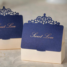 AVEBIEN 20pc Jewelry Crown Paper Gift Box Royal Blue Candy Bag for Wedding Favors Baby Shower Birthday Party