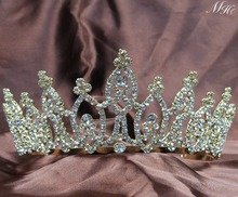 Awesome Bridal Wedding Tiaras 3″ Headband Gold Crowns Clear Crystal Rhinestone Prom Party Beauty Pageant Hair Jewelry