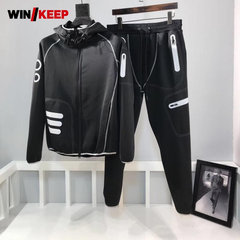 2018 New Men Luminous Sport Suits Fitness Training Tracksuit Hoody Jacket Sweatpants Running Sport Set Male Outdoor Jogging Suit