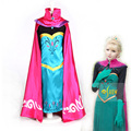 Snow Queen Anna dress For girs With Red Cloak Coronation Dress Made Cosplay Costume girls dress for fancy ball