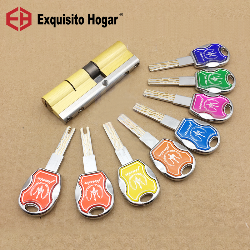 Door Lock Brass Cylinder Double Open Sided Blade Break Anti Pry Stainless Steel Bar Brass  Snake Groove Cylinder Color 8 Keys