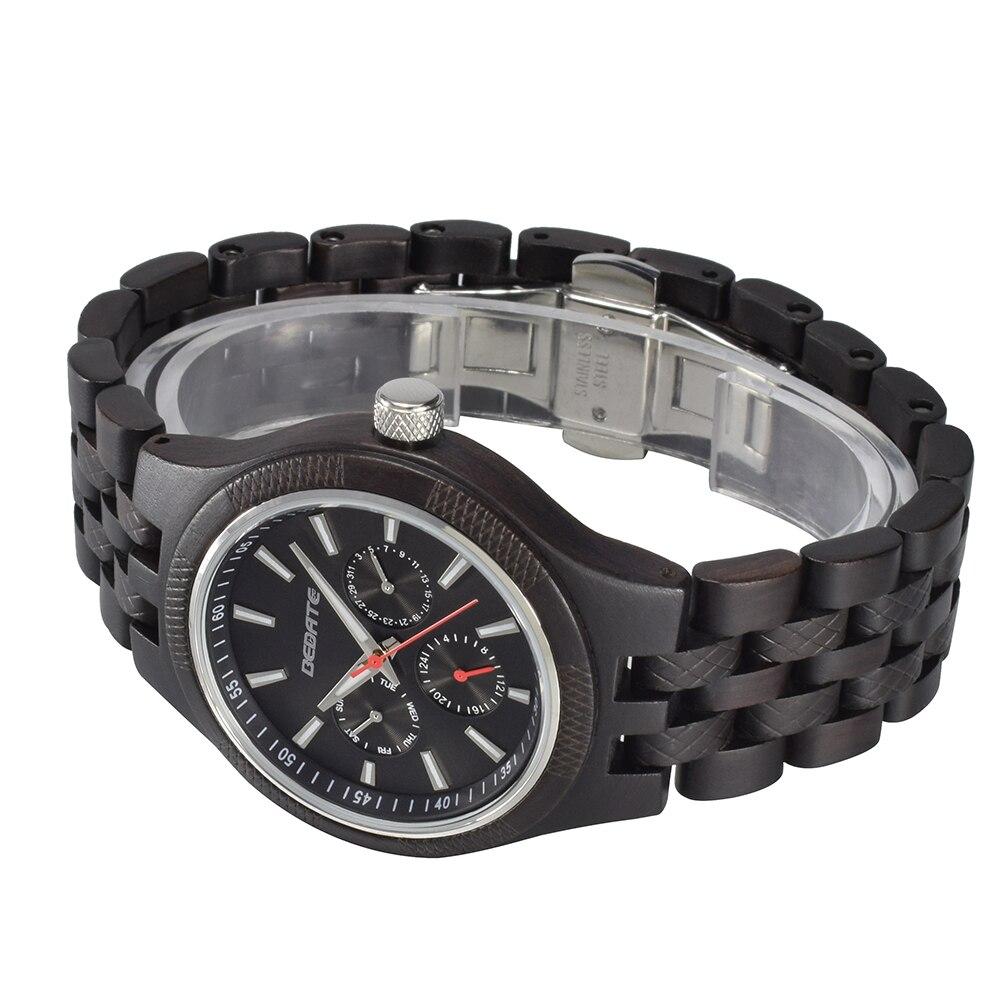 Unique hommes montres 2018 marque de luxe en bois montre étanche Quartz Sport chronographe en bois homme horloge montre homme cadeau boîte 143a - 4