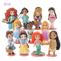 NEW Hot 8cm 11pcs Set Tangled Rapunzel Snow White Ariel Cinderella Princess Collectors Action Figure Toys