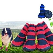Dog Shoes Fashion Pet shoes Waterproof cloth big Dog Boots 4pcs/set 5 sizes Red Blue Free Shipping