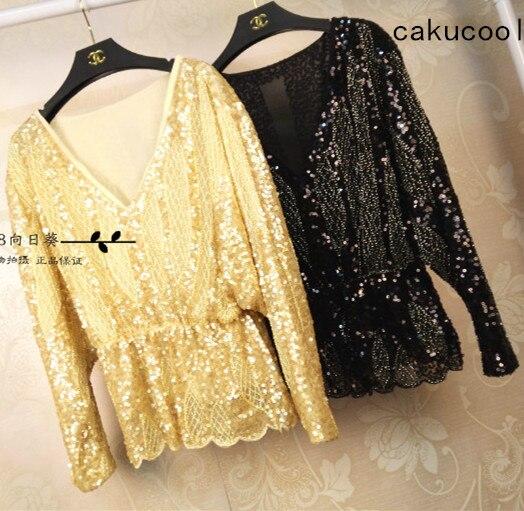 Cakucool Sequined Bling   Blouse   Long Batwing Sleeve Blusas Deep V-neck Sexy Spring Chiffon Elegant Beading   Blouses     Shirts   Lady