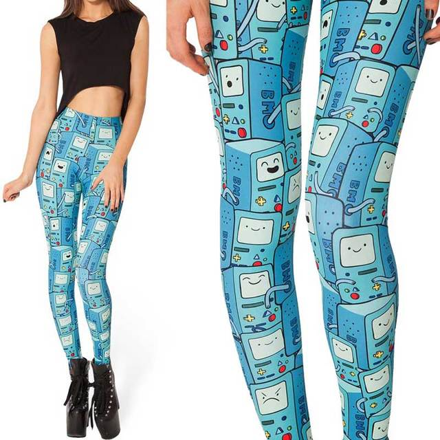 Summer Style Women Leggings Fitness 2015 New Arrival Sexy Adventure Time BMO Printed Leggings High Waist Slim Pants Plus Size