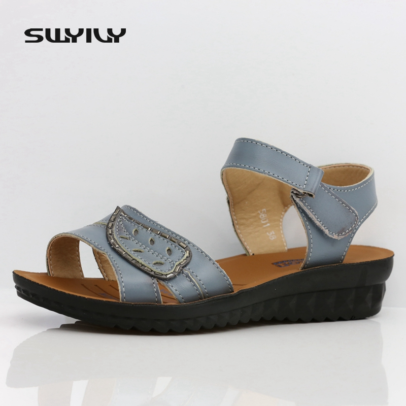 Genuine Leather Platform Gladiator Sandals Summer Flip Flops 2017 Creepers Shoes Woman Wedges Sandals Flats Size 35-41 nayiduyun shoes women cow suede strappy sandals roman gladiator sandals platform wedges creepers party casual shoes summer size