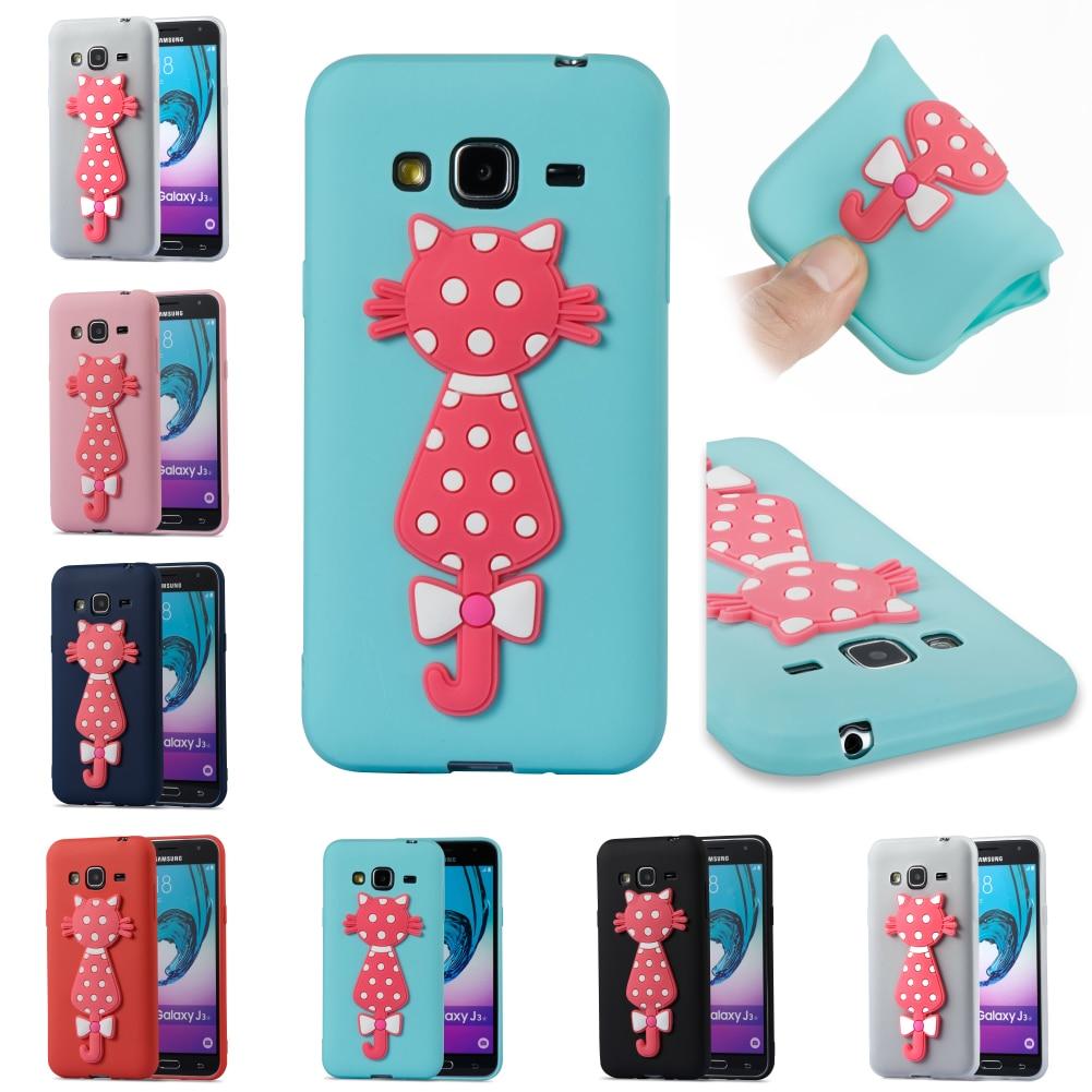 Cartoon Silicone 3D Cat TPU Phone Case Bag Cubierta For Samsung Sumsung Galax Galaxy J3 2016 J 310