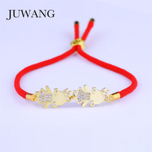 JUWANG Women Two Crown Girls CZ Red Rope Thread String Bracelet Silver Color AAA Cubic Zirconia Lucky Charms Adjustable