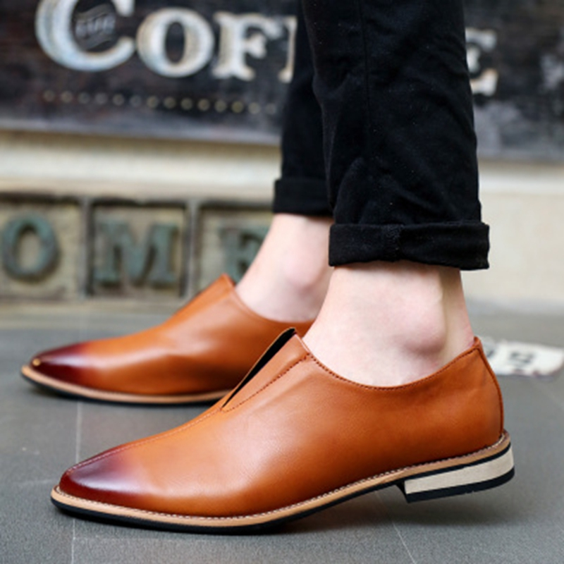 Autumn Suede Faux Leather Lace Up Business Shoes Men Oxfords Casual Flats Casual