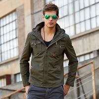 2019 Khaki New Jacket 5xl Cotton Men Casual Spring Fall Coat Men 's Clothing Jackets Padded Hooded Cotton Veste Homme 70B0728