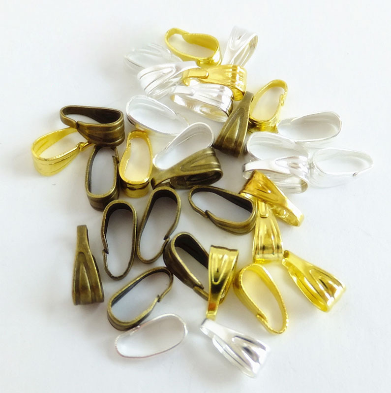 300PCS Metal Pendant Clips & Pendant Clasps,Pinch Clip Bail Pendant Connector Jewelry Findings DIY Jewellery Parts Accessories